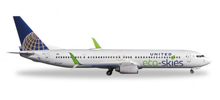 """United Airlines Boeing 737-900 """"Eco-Skies"""" Reg# N75432 Herpa Wings 529273 Scale 1:500"""