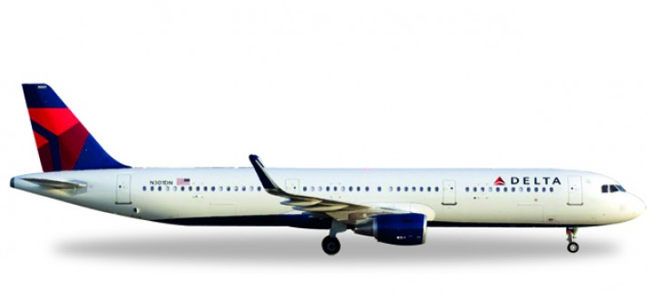 First Sharklets Delta Airbus A321 Reg# N301DN Herpa 529617 Scale 1:500
