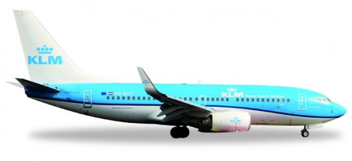 """KLM Boeing 737-700 """"Pelikaan"""" Winglets Reg# PH-BGP New Livery Herpa 530200 Scale 1:500"""