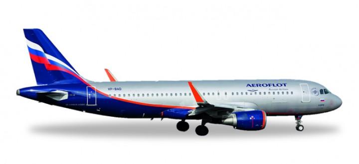 Aeroflot Airbus A320 Sharklets Reg# VP-BAD Metallic Herpa 530644 Scale 1:500