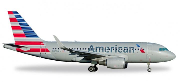 American Airbus A319 Sharkllets Registration N8001N Herpa Wings 530835 Scale 1:500