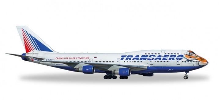 Transaero Boeing 747-400 Amur Tiger EI-XLN Die-Cast Herpa 557917 Scale 1:200