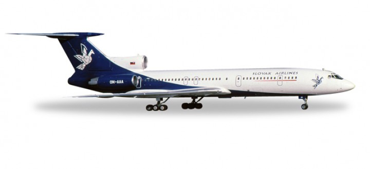 Slovak Airlines Tupolev TU-154M Reg# OM-AAA Metallic Herpa Wings 558143 Scale 1:200