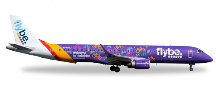 """Flybe Embraer E195 Reg# G-FBEJ """"Welcome to Yorkshire"""" Herpa 558297 1:200"""