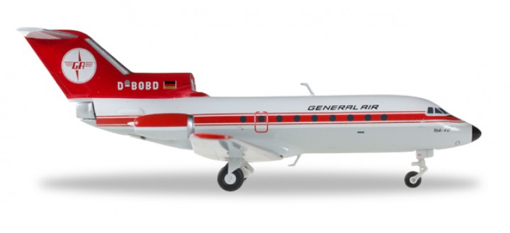General Air Yakolev Yak-40 Reg# D-BOBD Die-Cast Herpa 555358 Scale 1:200