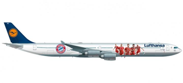Metallic  Lufthansa Airbus A340-600 registration D-AIHK FC Bayern 2017 China summer tour 558846 Scale 1:200