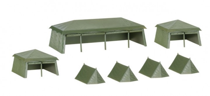 7 Pieces military tent set (assembly kit) 745826 Herpa diorama Accessories Scale HO 1:87