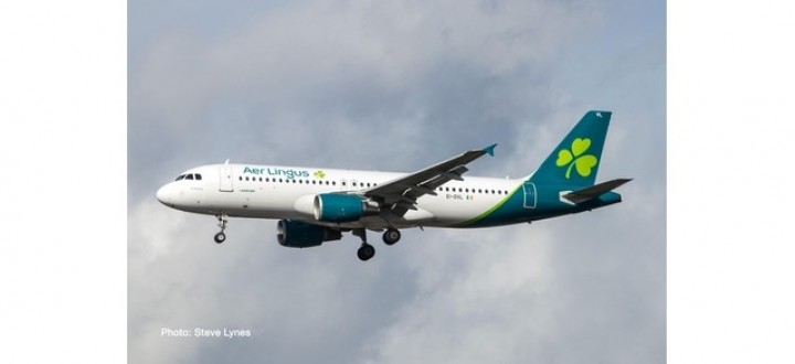 """Aer Lingus Airbus A320 EI-DVL New Livery """"St Moling"""" Herpa Wings 533690 scale 1:500"""