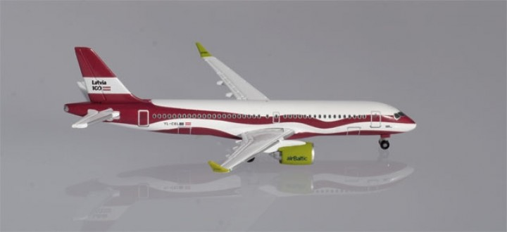 "Air Baltic Airbus A220-300 (Bombardier CS) ""Latvia 100"" Herpa 533171 scale 1:500"