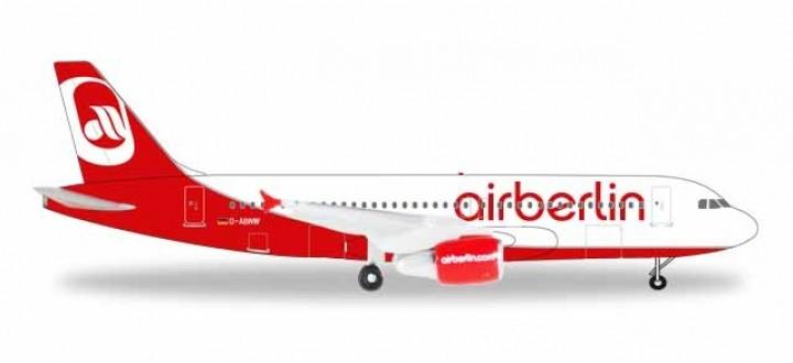 "AirBerlin Airbus A320 ""Last Flight"" Reg D-ABNW Herpa 531498 scale 1:500"