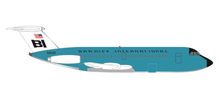 Braniff BAC 1-11-500 N1549 Jelly Bean Turquoise Herpa 533010 scale 1:500