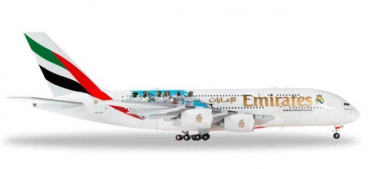 Emirates Airbus A380-800 Real Madrid 2018 A6-EUG Herpa 559508 scale 1:200