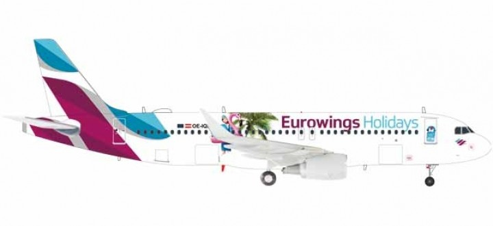 """Eurowings Airbus A320 """"Holidays"""" OE-IQD Herpa 559157 Scale 1:200"""