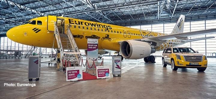 """Eurowings """"Hertz"""" Airbus A320 D-ABDU Yellow Herpa Wings die cast 533775 scale 1:500"""