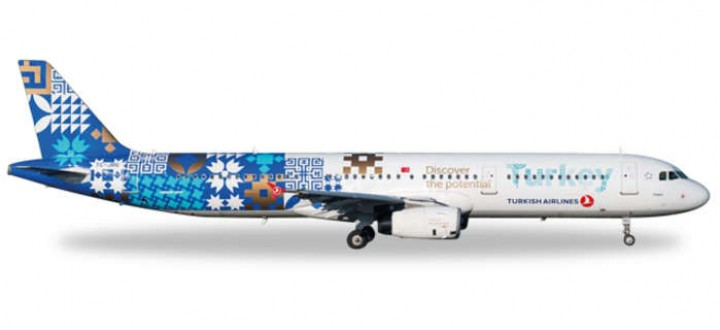 Turkish Airlines Airbus A321 Discover Potential Turkey  Herpa 557900 Die Cast Scale 1:200