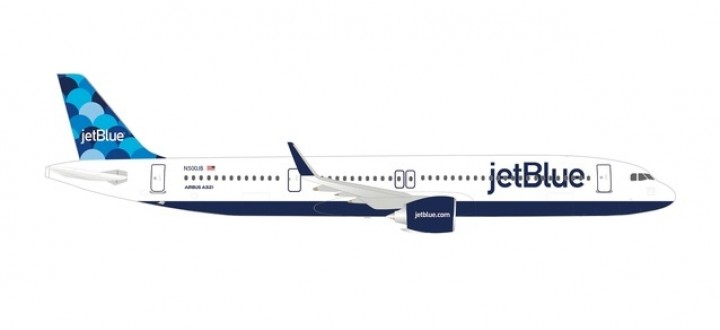 """jetBlue's first Airbus A321neo """"Ballons"""" tail design N2002J Herpa 533805 scale 1:500"""