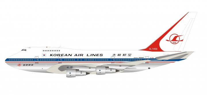 Korean Air Lines Boeing 747SP HL7456 Polished with stand InfFight IF747SPKL0719P scale 1:200