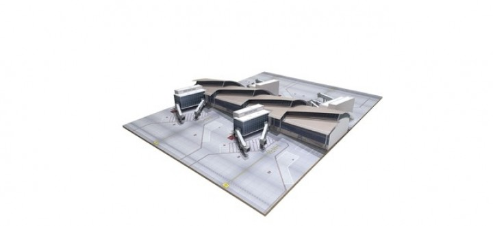 LAX Los Angeles Midsection Tom Bradley International with base Herpa 533881 scale 1:500