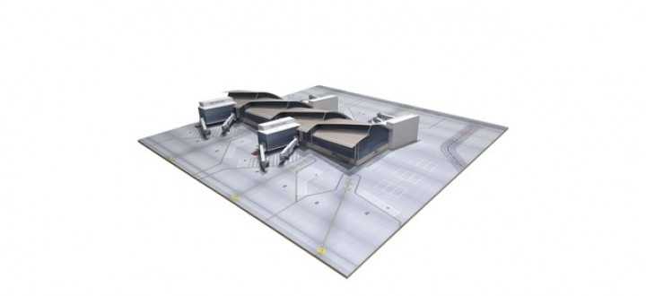 Los Angeles North Concourse Tom Bradley International 5 Gates, (2 x A380) with base Herpa 533850 scale 1:500