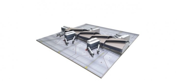 LAX Los Angeles South Concourse Tom Bradley International 5 wide body (2 x A380) with base Herpa 533867 scale 1:500