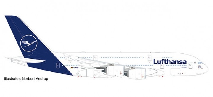 """Lufthansa New Livery Airbus A380 """"Deep Blue"""" colors Herpa 533072 scale 1:500"""