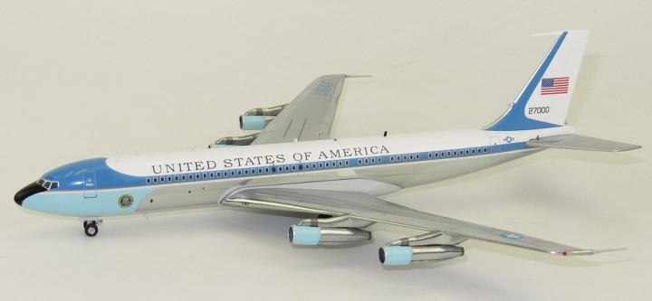 Air Force One VC-137 Polished 27000 Boeing 707 Black Stand
