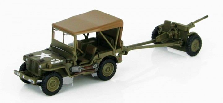 Willys MB Jeep HG4213 With Anti Tank 37mm Gun Tunisia 1943 Gun Hobby Master Scale 1:72