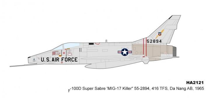 US Air Force F-100D Super Sabre Mig-17 Killer Da Nang AB 1965 Hobby Master HA2121 scale 1:72