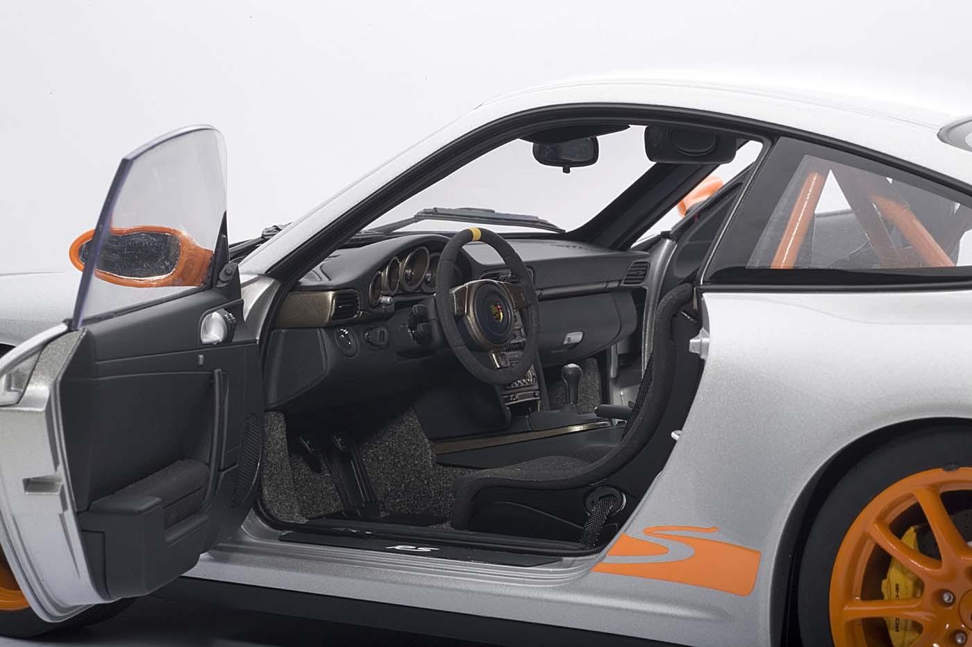 Porsche 911 (977) GT3 RS Silver w/Orange Stripes 12119 AUTOart Scale 1:12