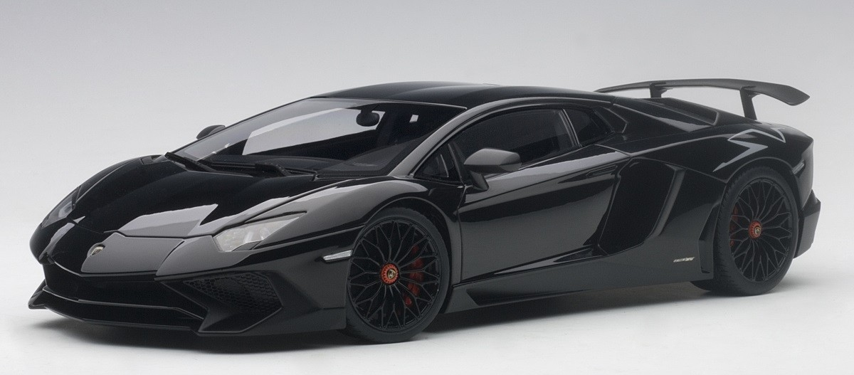 Black Lamborghini Aventador Lp750 4 Sv Gloss Nero Aldebaran Autoart