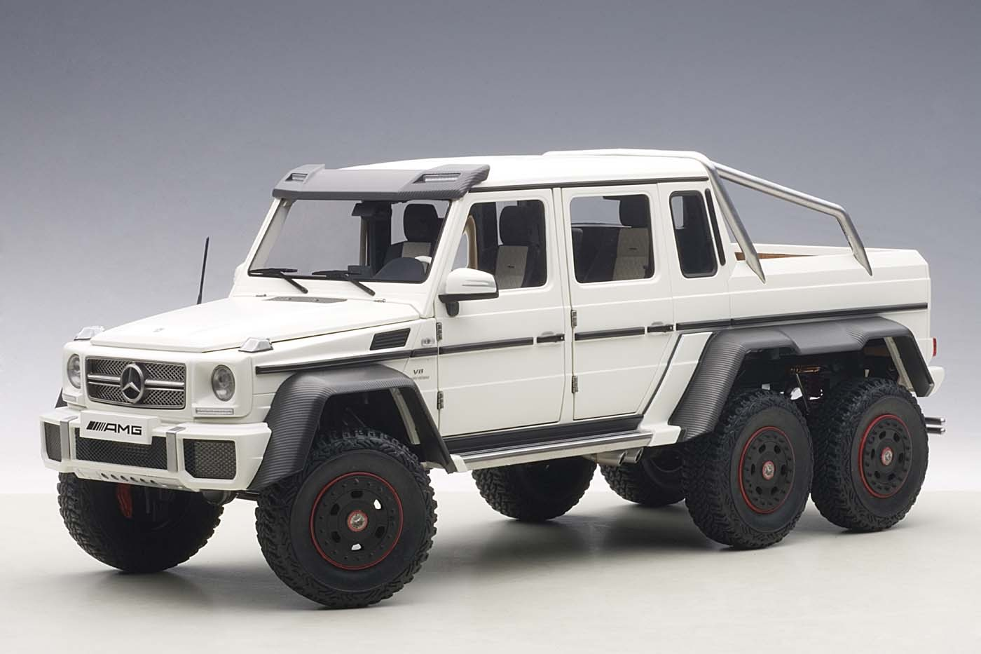 Highly detailed autoart matt white composite mercedes benz for Mercedes benz g63 6x6 amg