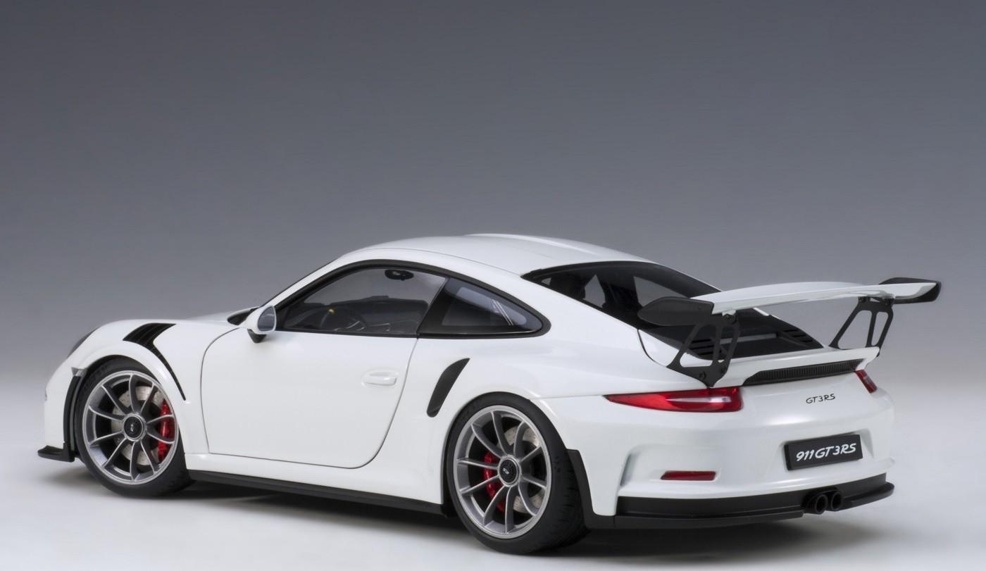 White Porsche 991  911  W  Dark Grey Wheels Autoart 78166