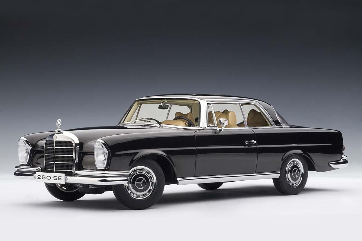 autoart 1 18 scale mercedes benz 280se coupe 1968 black. Black Bedroom Furniture Sets. Home Design Ideas