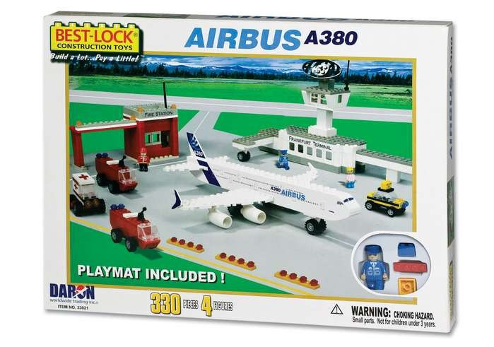 330 Pieces Airbus A380 Plane Playset with Mat BL33021 by Best-Lock