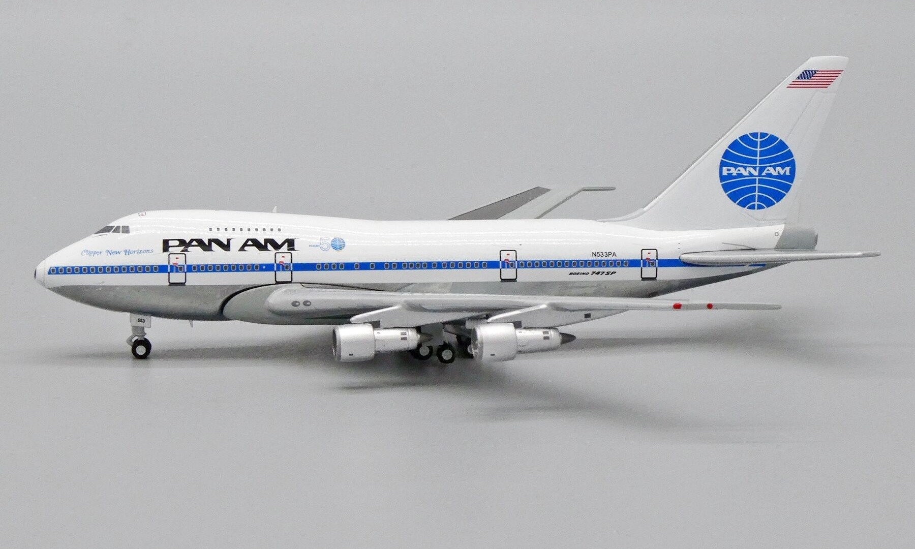 """Pan Am Boeing 747SP N533PA """"Clipper New Horizons"""" with Commemorative Flight 50 Logo (1:400)"""