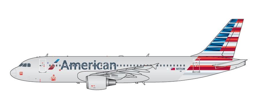 REG# N117UW Gemini200 American Airlines Airbus A320-200 G2AAL629 1//200 New