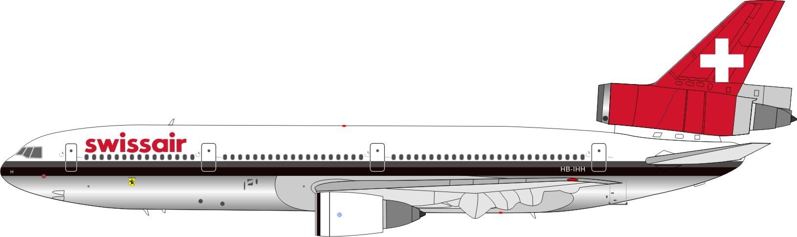 Inflight 200 BDC103001P 1//200 Swissair DC-10-30 HB-IHE poli avec support