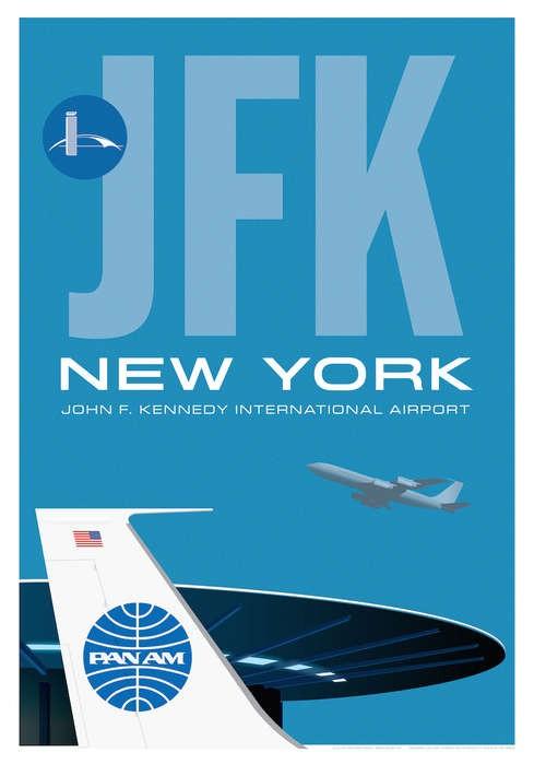 Jfk Poster John F Kennedy New York Pan Am Airport World