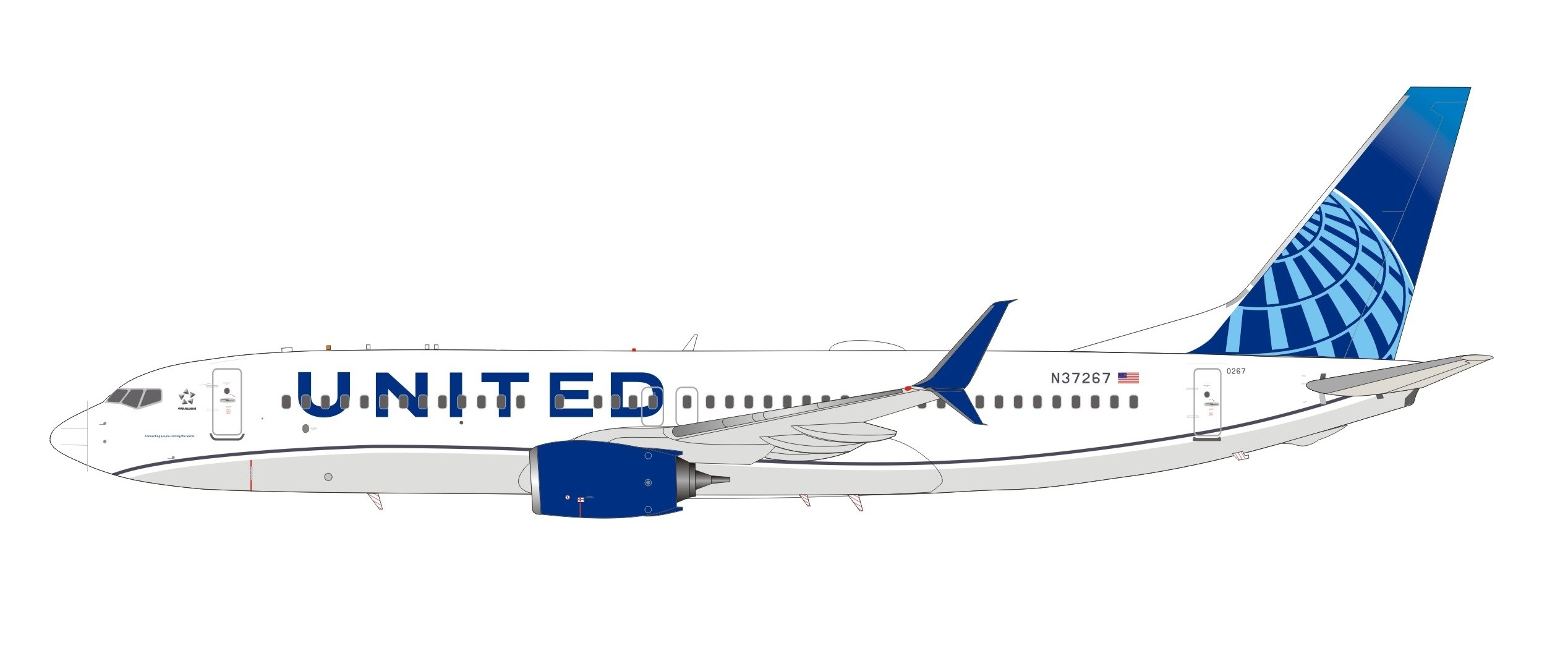 United New Color Livery Boeing 737-824 N37267 InFlight IF738UA0619 scale  1:200