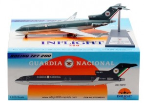 Guardia Nacional Mexico Boeing 727-230 XC-MPF AMLO with stand InFlight IF722MEX03 scale 1:200