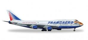 Transaero Boeing 747-400 Amur Tiger Reg# EI-XLN ТРАНСАЭРО Herpa 528818 1:500