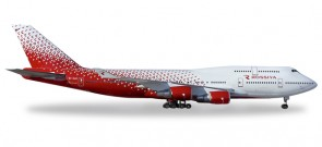 Rossiya New Livery Boeing 747-400 Reg# EI-XLE Post Merger Herpa Die-Cast 529686 Scale 1:500