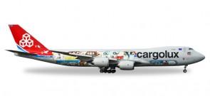 "Cargolux Boeing 747-8F Reg# LX-VCM 45th Anniversary ""City of Redange-sur-Attert"" Herpa 529716 Scale 1:500"