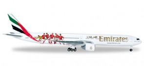 Emirates Benfica Lisbon Boeing 777-300ER Lisboa S.L. Reg# A6-EPA Herpa 529853 Scale 1:500