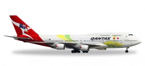 Highly detailed Herpa Wings (Miniaturmodelle) true-to-scale aircraft model Qantas 747-400 Rio 2016 Spirit of the Australian Team Reg# VH-OEJ Herpa 529914 Scale 1:500