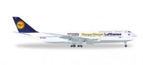 Lufthansa Siegerflieger Rio 2016 Boeing 747-8 Reg# D-ABYK Intercontinental Herpa 530026 Scale 1:500