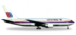 United Boeing B767-200 Saul Bass Reg# N607UA city of Denver Herpa Die Cast 530178 Scale 1:500