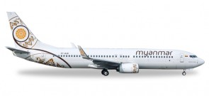 Myanmar National Airlines Boeing 737-800 Reg# XY-ALB Herpa 530538 Scale 1:500