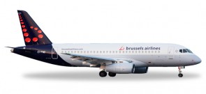 Brussels Airlines Sukhoi Superjet Superjet SSJ-100 Registration EI-FWD Herpa Wings 530774 Scale 1:500