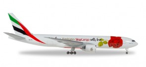 Emirates SkyCargo Boeing 777F With Love registration A6-EFL Flower rose Herpa 531009 Scale 1:500